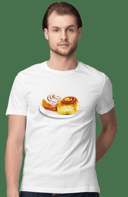 Футболка чоловіча з принтом Тарілка Ватрушок. Ватрушки, їжа, солодкість, тарілка. BlackLine