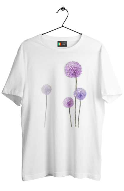 Футболка чоловіча з принтом Фіолетові Кульбаби. Квітка, кульбаба, кульбаби. BlackLine
