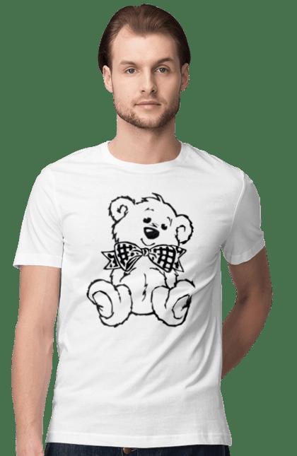 Футболка чоловіча з принтом Ведмедик з метеликом, чорний. Бантик, ведмідь, іграшка. Sector