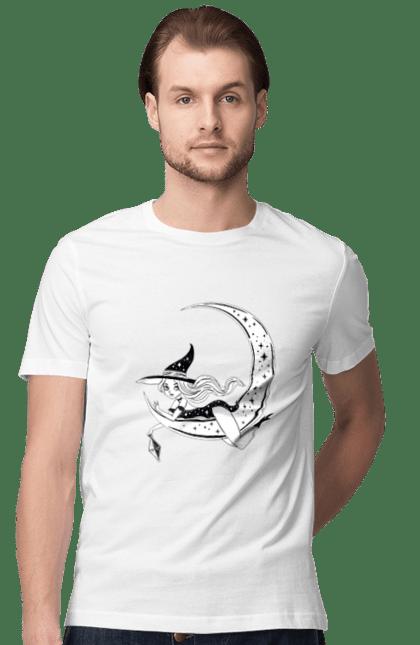 Футболка чоловіча з принтом Відьма на місяці. Відьма, зірки, капелюх, колдунья, хеллоуин, чаклунка, эхо. CustomPrint.market