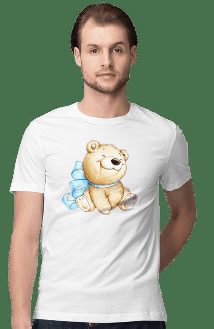 Футболка чоловіча з принтом Милий ведмедик з бантиком. Бантик, медвеженок, милий ведмідь. Sector
