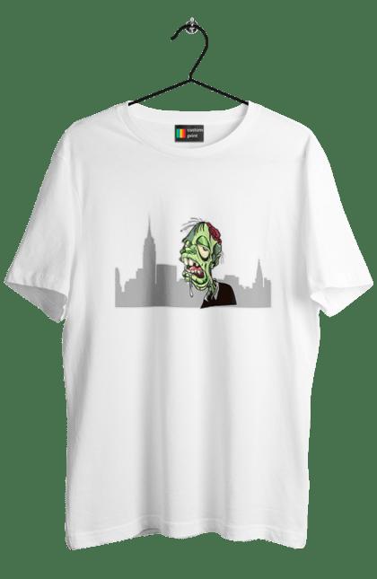Футболка чоловіча з принтом Зомбі в місті. Безсмертний, жах, зомбі, кошмар, місто, монстр, неупокоенний, нечисть, особа, очей, переляк, погляд, страх, хелловін, хеллоуїн, чорний гумор. CustomPrint.market