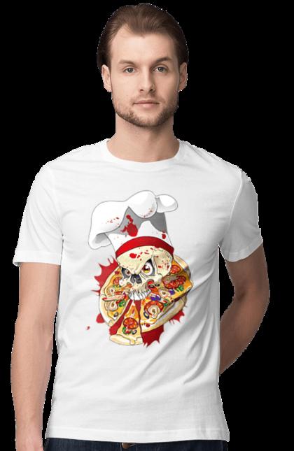 Футболка чоловіча з принтом Кухар скелет, їсть піцу. Піца, повар, скелет, череп. CustomPrint.market