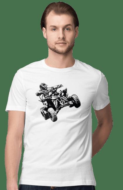 Футболка чоловіча з принтом Людина На Квадроциклі Чорний. Гонки, екстрим, квадроцикл.