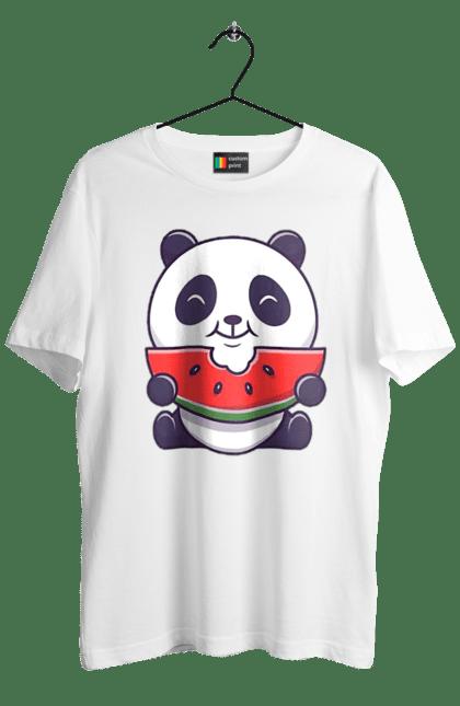 Футболка чоловіча з принтом Панда І Кавун. Їжа, кавун, панда.