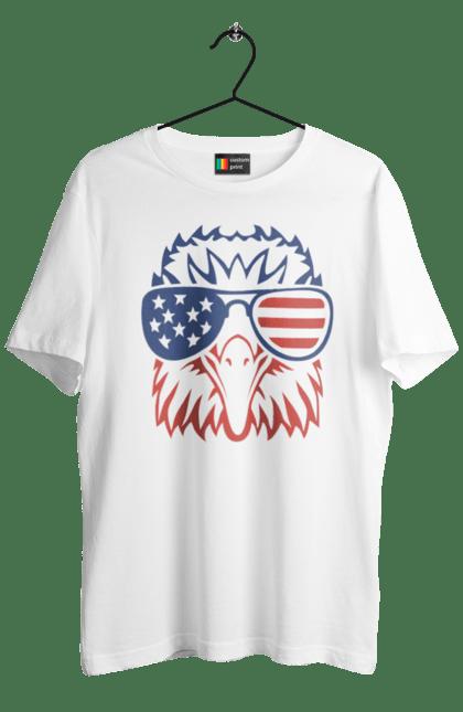 Футболка чоловіча з принтом Патріот Орел. Америка, день незалежності, окуляри, орел, сша.