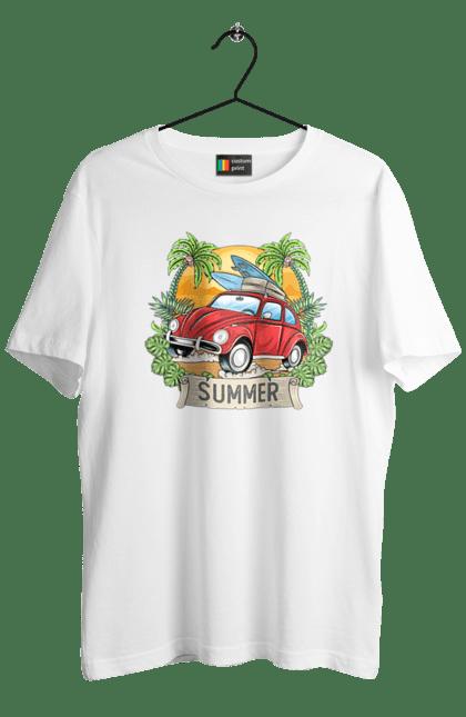 Футболка чоловіча з принтом Літо, Машина І Пальми. Відпочинок, літо, машина, пальми.