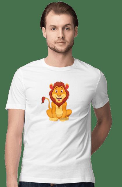 Футболка чоловіча з принтом Король Лев. Дитячий, лев, левеня, мультфілм, подарунок. CustomPrint.market