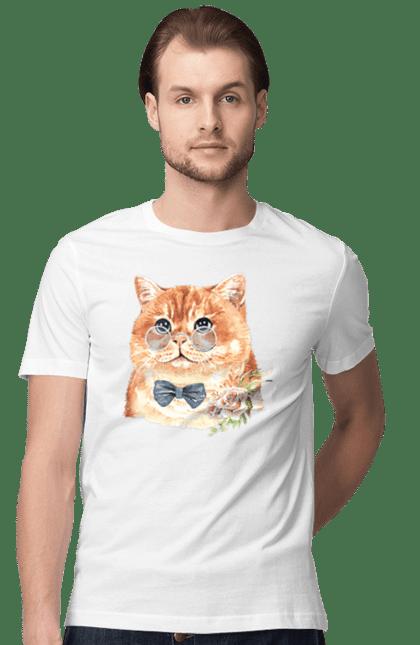 Футболка чоловіча з принтом Кіт в окулярах з бантом. Бант, квітка, кіт, котик, окуляри.