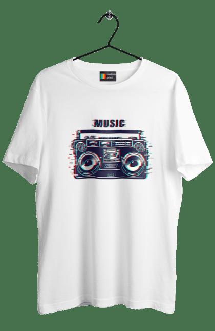 Футболка чоловіча з принтом Стерео Музика. Магнітола, музика, стерео. CustomPrint.market