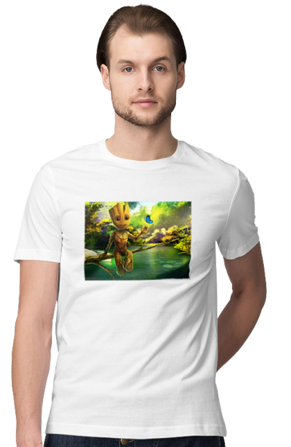Футболка чоловіча з принтом Грут з метеликом. Гілка, грут, дерево, метелик, озеро, ставок. BlackLine