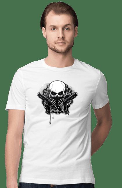 Футболка чоловіча з принтом Скелет З Пістолетом. Арт, пістолет, скелет.