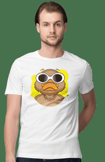 Футболка чоловіча з принтом Качка В Окулярах. Важливий, качка, окуляри, птах. BlackLine