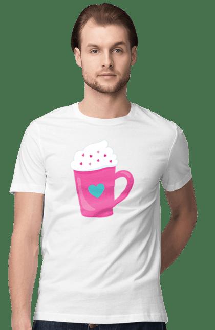 Футболка чоловіча з принтом Рожева чашка з вершками. 14 лютого, вершки, день валентина, день закоханих, рожева, сердечко, чашка. BlackLine
