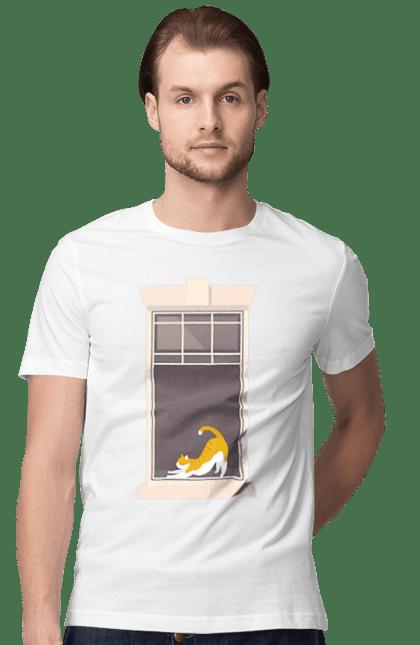 Футболка чоловіча з принтом Кіт В Вікні. Вікно, кіт, потягушки, рудий.