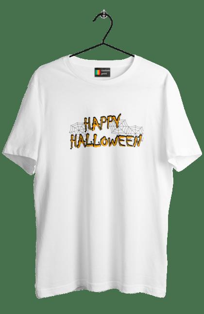 Футболка чоловіча з принтом Веселого хеллоуина паутина. Вечеринка, день всех святых, Паутина, праздник, хеллоуин. BlackLine