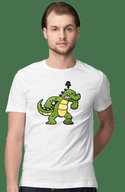 Футболка чоловіча з принтом Розлючений Крокодил. Алигатор, динозавр, злой, крокодил, мультик. CustomPrint.market