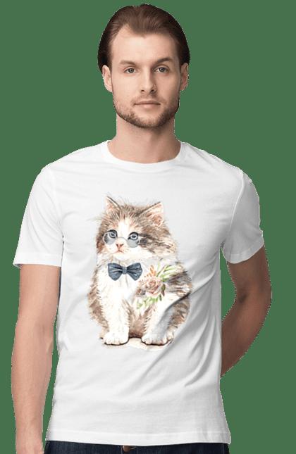 Футболка чоловіча з принтом Котеня з бантом. Бант, кіт, котик, окуляри, троянди.