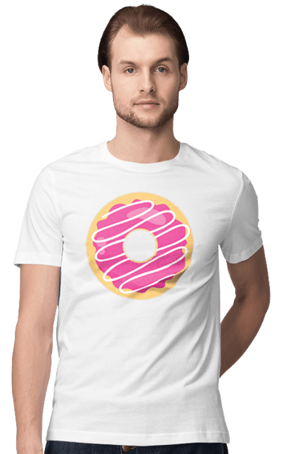 Футболка чоловіча з принтом Рожевий пончик. 14 лютого, день валентина, день закоханих, пончик, рожевий. BlackLine