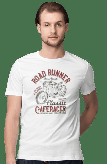 Футболка чоловіча з принтом Road Runner. Байкер, вінтаж, мото, ретро. BlackLine