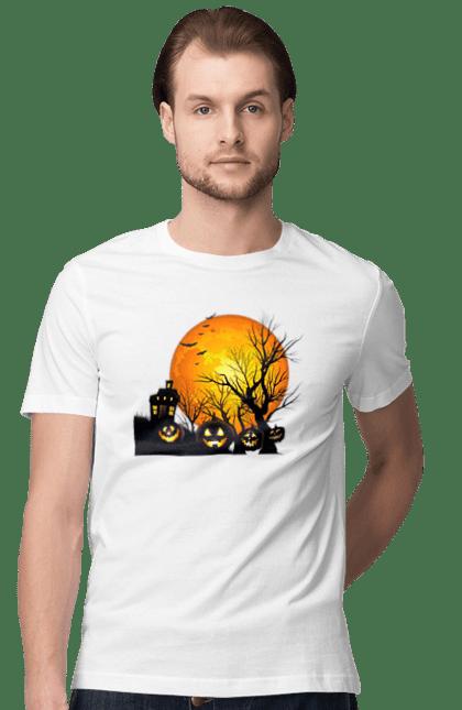 Футболка чоловіча з принтом Хеллоуїн, гарбуз і дерева. Гарбуз, дерева, летюча миша, могила, смерть, хеллоуїн. BlackLine