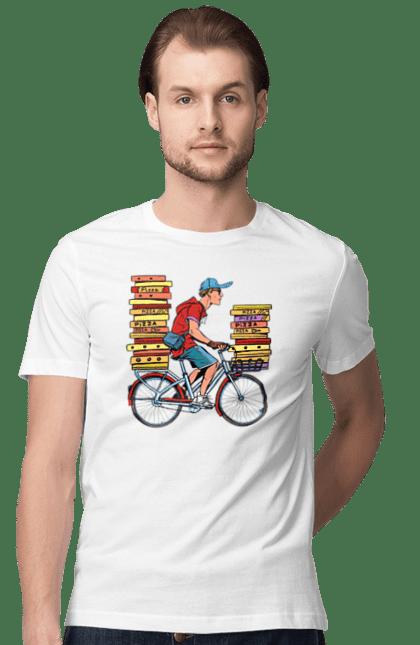 Футболка чоловіча з принтом Доставка Піци. Велосипед, доставка, піца, робота. BlackLine