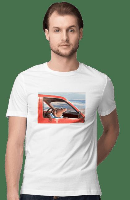 Футболка чоловіча з принтом Крокодил в окулярах на машині. Відпочинок, крокодил, окуляри. BlackLine