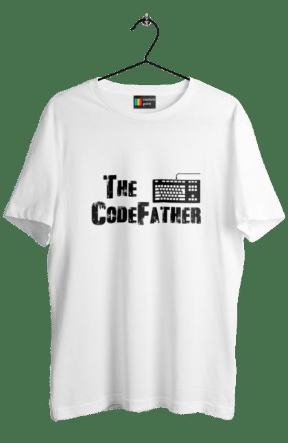 Футболка чоловіча з принтом Батько Коду, Клавіатура, Чорний. День програміста, клавіатура, код, програміст. BlackLine