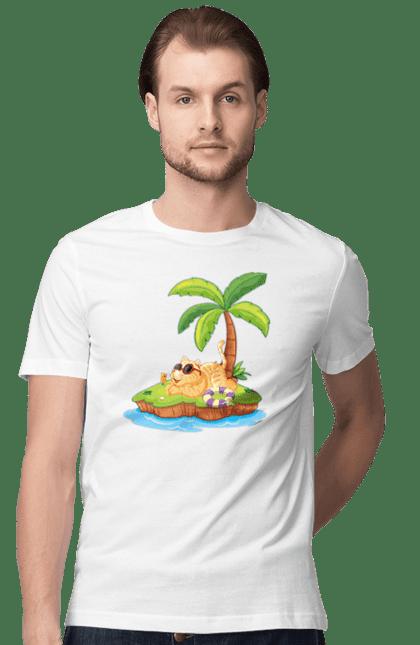 Футболка чоловіча з принтом Рудий Кіт У Відпустці. Відпочинок, кіт, літо, острів.