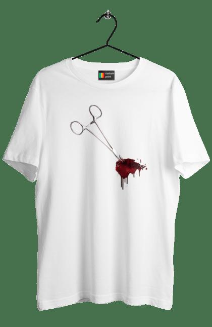 Футболка чоловіча з принтом Хеллоуїн, ножиці і кров. Кров, ножиці, смерть, хеллоуїн. BlackLine
