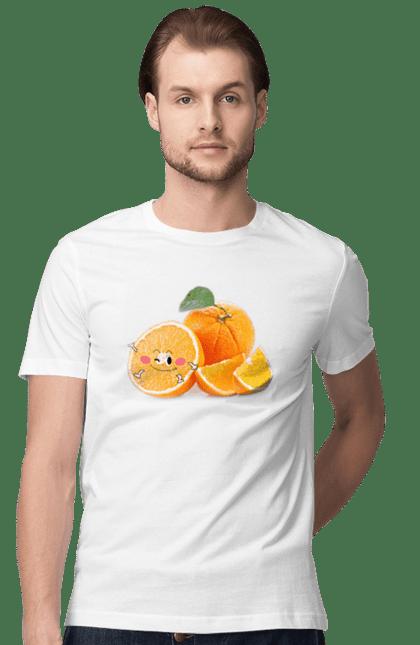 Футболка чоловіча з принтом Апельсин Смайлик. Апельсин, помаранчевий апельсин, самйл, цитрус. CustomPrint.market