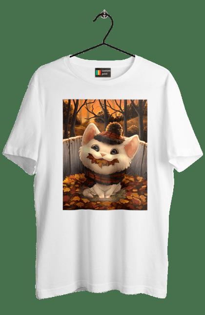 Футболка чоловіча з принтом Кошеня в шапці і шарфику в листі. Кіт, кошеня, листя, осінь, холод, шапка, шарф. BlackLine
