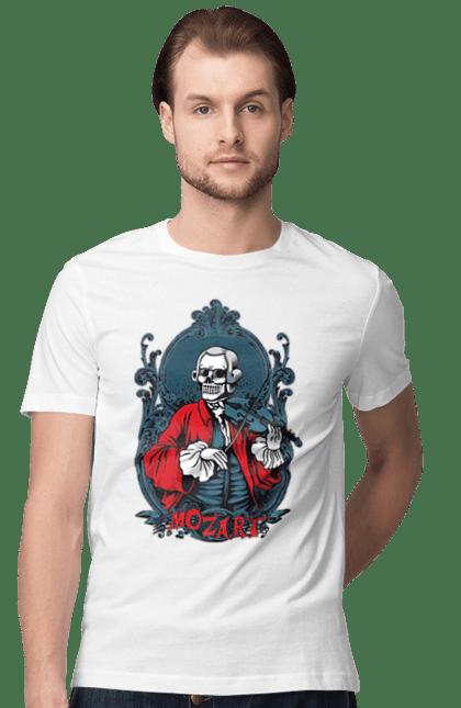 Футболка чоловіча з принтом Моцарт, Скелет. Моцарт, скелет, скрипка. CustomPrint.market