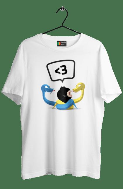 Футболка чоловіча з принтом Язик Третього Покоління, Програміст. День програміста, змія, покоління, програміст, язик. BlackLine