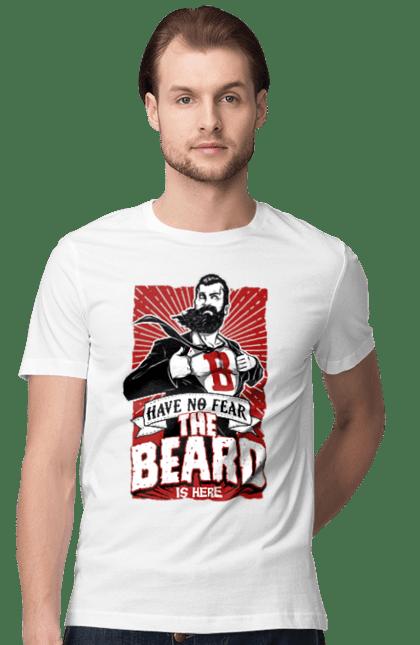 Футболка чоловіча з принтом Борода тут. Борода, супергерой.