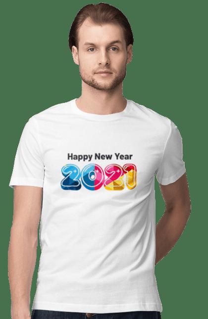 Футболка чоловіча з принтом З новим 2021 роком. 2 021, новий рік, свято. CustomPrint.market