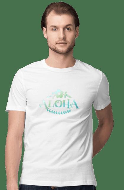 Футболка чоловіча з принтом Алоха. Алоха, літо, напис. CustomPrint.market