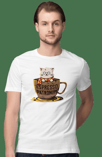Футболка чоловіча з принтом Котик в чашці, еспресо патронум. Гаррі поттер, кава, кіт, чашка. Sector