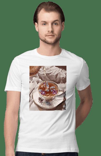 Футболка чоловіча з принтом Чай з квітами в ліжко. Квітка, кружка, посткль, ранок, чай. BlackLine