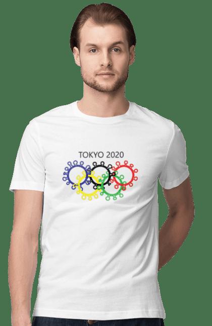 Футболка чоловіча з принтом Олімпійські Ігри Токіо, Коронавірус. Коронавірус, олімпійські ігри, токіо. BlackLine