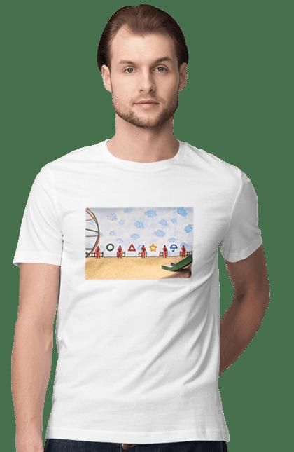 Футболка чоловіча з принтом Гра в кальмара, символи. Гра в кальмара, кальмар, серіал. CustomPrint.market