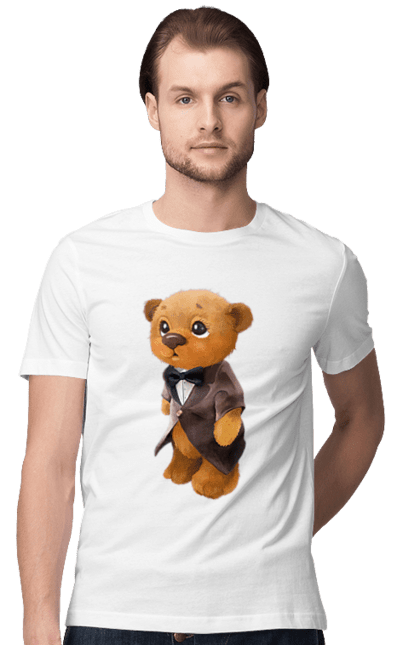 Футболка чоловіча з принтом Милий коричневий ведмедик в костюмі. Ведмідь, костюм, медвеженок. Sector
