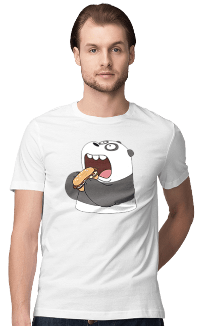 Футболка чоловіча з принтом Панда Обжора. Гамбургер, їжа, ненажера, панда.