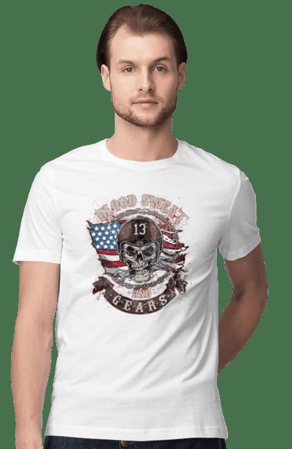 Футболка чоловіча з принтом Кривавий череп. Кров, прапор, череп.