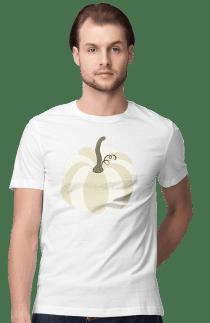 Футболка чоловіча з принтом Білий гарбуз 3. Біла, гарбуз, флористика. BlackLine