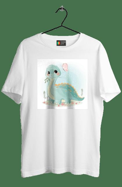 Футболка чоловіча з принтом Динозавр І Метелик. Динозавр, дитина, дитячий, милий, подарунок. CustomPrint.market