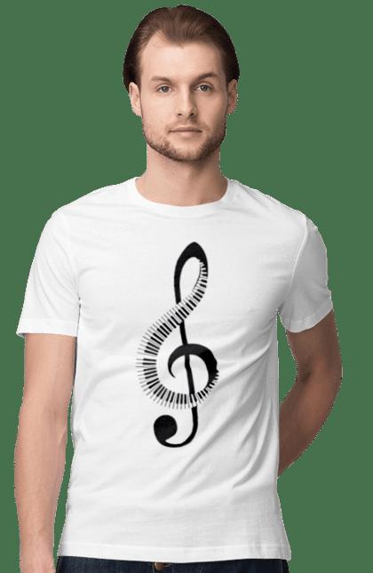 Футболка чоловіча з принтом Музика, Скрипковий Ключ І Піаніно. Мелодія, музика, піаніно, скрипковий ключ. CustomPrint.market
