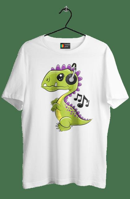 Футболка чоловіча з принтом Динозавр Слухає Музику В Навушниках. Динозавр, музика, навушники. BlackLine