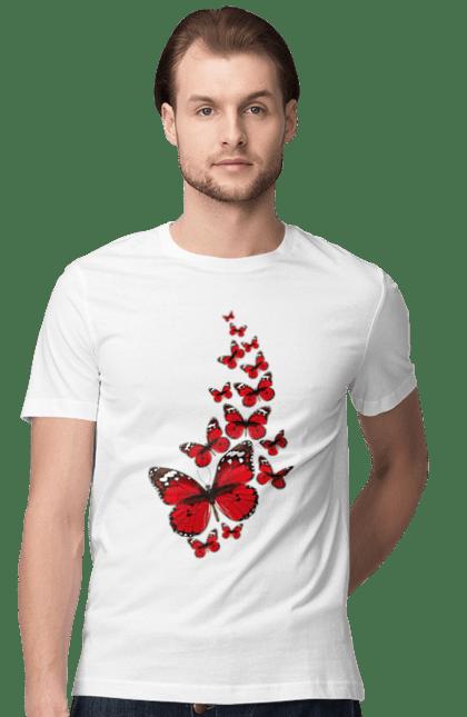 Футболка чоловіча з принтом Червоні Метелики Відлітають. Літати, метелик, червона метелик. CustomPrint.market