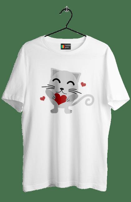 Футболка чоловіча з принтом Закоханий Кіт. Закоханий, кохання, тварина. BlackLine